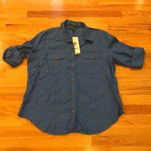 NWT Lauren Ralph Lauren Blue Linen shirt Sz XL